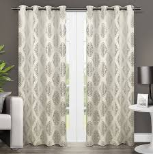 Curtain Panels Amazon Com Exclusive Home Augustus Metallic Medallion Grommet Top