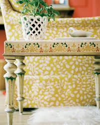 Patterned Armchair Painted Side Table Photos Design Ideas Remodel And Decor Lonny