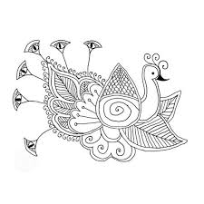 an artisitic drawing of indian peacock colouring page an