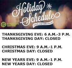kcparks community centers at 3pm today and are closed all