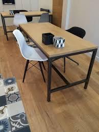 bureau en acier bureau acier et bois meuble industriel sur mesure