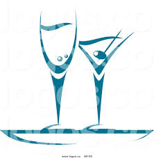 martini illustration royalty free vector of a blue champagne and martini glasses logo