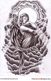 angle cloud design tattoos wings guardian