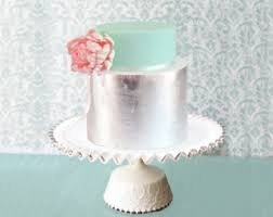 Red Cake Plate Pedestal Wedding Cake Stand 18 Low Cake Stand Custom Cake