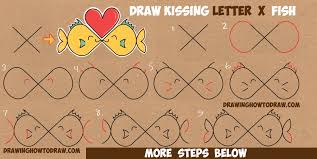 how to draw cartoon fish kissing from the letter u0027x u0027 in easy step