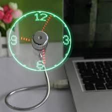 gadgets de bureau mini usb fan gadgets mini led lumière usb ventilateur temps