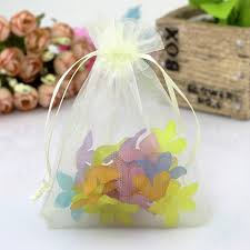 tulle bags 7x9cm beige organza bags small drawstring pouches promotional