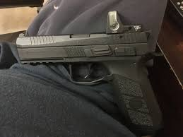 cz p09 with rmr trijicon dual illumination sight installed by