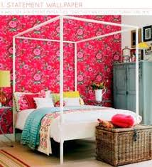 Wallpapered Accent Walls Colors Bright Wallpaper And Accent Walls - Colourful bedroom ideas