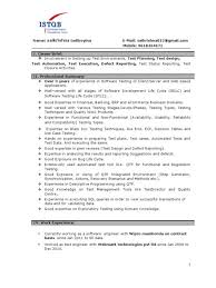 Currently Working Resume Format 1 Year Experience Resume Format For Manual Testing Eliolera Com