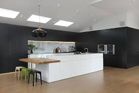 Black And White Contemporary Kitchen - black kitchen white island love the way the cabinets continue