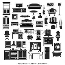 Bedroom Furniture Items Furniture Items Icons Set Bedroom Living Stock Vector 414687862