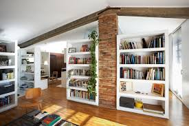 modern home library interior design stone wall modern wooden library room design id803 modern home