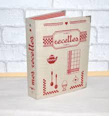 kit complet cartonnage brodé classeur recettes de cuisine