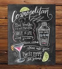 cosmopolitan drink drawing cosmopolitan recipe chalkboard art print chalkboards printing