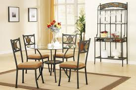 Wrought Iron Kitchen Table Dining Room Nice Looking Small Dining Room Design With Round Glass