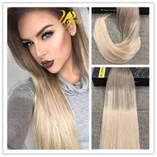 Light Brown Hair Extensions Balayage Ombre Light Brown With Blonde Remy Tape In Real Humam