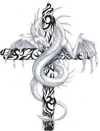 tattoo cross dragon dragon with cross tattoo design