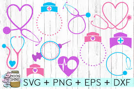 nurse monogram frame bundle svg dxf png design bundles
