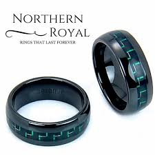 Unique Mens Wedding Rings by Black Ceramic Wedding Band With A Green And Black Carbon Fiber