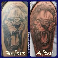 bad tattoos fixed black u0026 grey lion tattoo before and after in