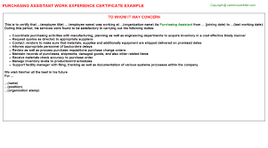 Purchasing Assistant Resume Purchasing Assistant Work Experience Certificate