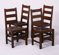 set of 4 stickley brothers ladder back dining chairs unsigned