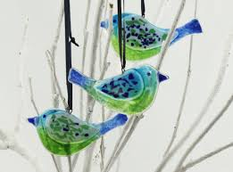 bird glass ornament fused glass decorations bird ornaments