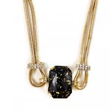 black stone pendant necklace images Black stone handmade gold flakes encrusted statement choker necklace jpg