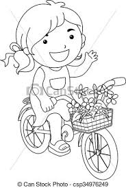 eps vector of line art kid flower bicycle color page