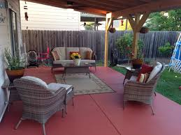 back patio after using valspar semi transparent concrete stain and