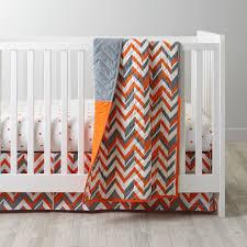 Baby Dinosaur Crib Bedding by Orange Chevron Crib Bedding The Land Of Nod