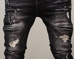 Ripped Denim Jeans For Men Krralinlin Men U0027s Slim Fit Black Stretch Distressed Ripped Skinny