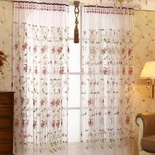 Embroidered Sheer Curtains White Floral Pastoral Embroidery Custom Sheer Curtains