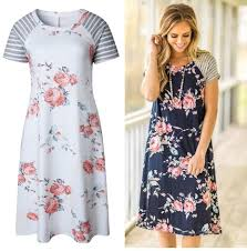 summer dress for women casual short sleeve loose t shirt with