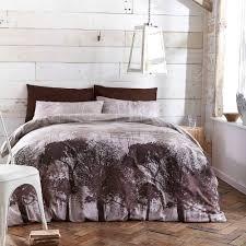 Forest Bedding Sets Woodland Trees Print Grey Black Beige Duvet Quilt Cover