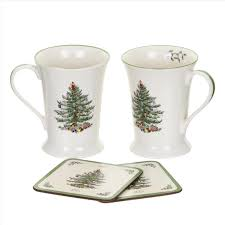 pimpernel christmas tree set of 2 mugs u0026 coasters pimpernel usa