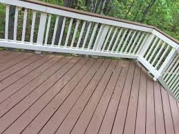 sherwin williams deck stain in pinecone and rail paint in navajo
