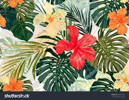 Hawaiian Flowers And Plants - summer colorful hawaiian seamless pattern tropical stock