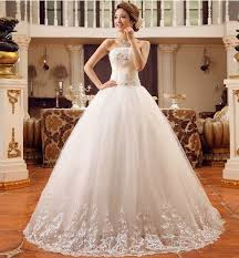 wedding dress shop online strapless appliques beading white color bridal gown wedding dress