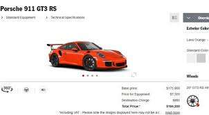 porsche 911 configurator porsche 911 gt3 rs configurator goes live top speed