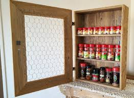 Cream Spice Rack Country Rustic Cabinet With Chicken Wire And Cream Scalloped Cera