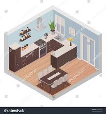 modern kitchen interior isometric design concept stock vector