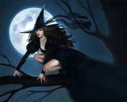 light fantasy witch black autumn halloween moon fantasy art