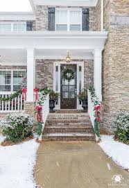 traditional craftsman homes classic brick porch in the snow and