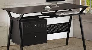 modern black desks desk black metal amp glass modern home office desk w2 storage