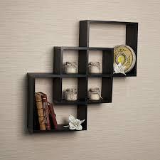 amazon com intersecting squares decorative white wall shelf home
