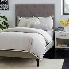 narrow leg upholstered bed frame dove gray west elm