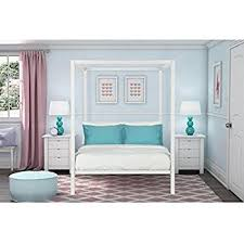 Metal Canopy Bed Amazon Com Dhp Modern Metal Canopy Bed Full White Kitchen U0026 Dining