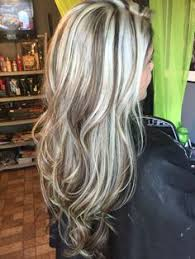 heavy platinum highlights with rich chocolate brown lowlights no
